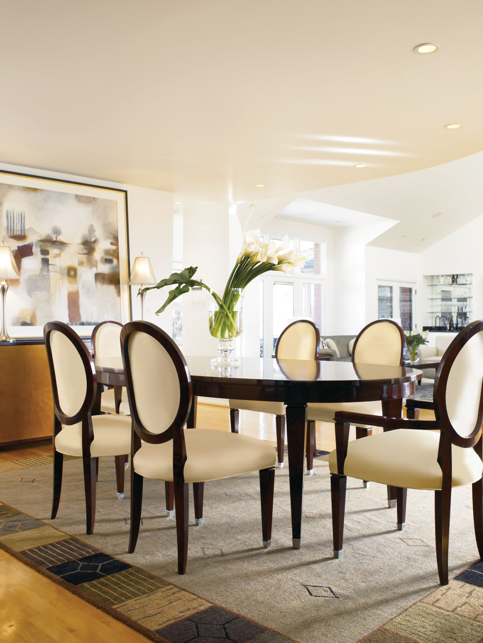 Dining Room Table With Two Styles Of Mission Chairs